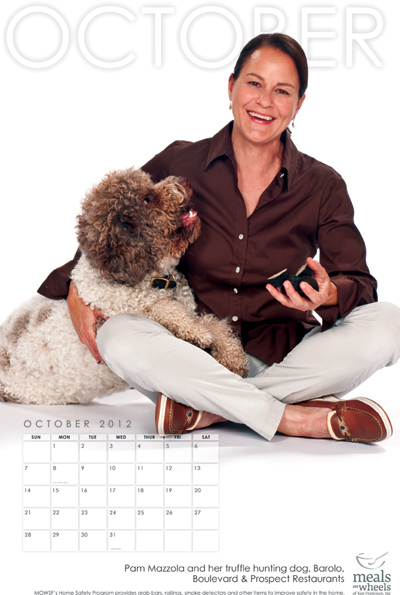 Chef Pam Mazzola of Prospect and Boulevard restaurants poses with her pooch. (Photo courtesy of Meals on Wheels)