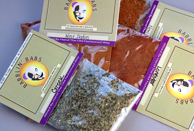 Samples of the six herb blends.