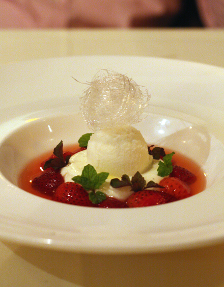 Goat cheese panna cotta with local strawberries.