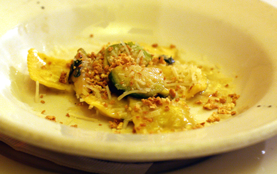 Lovely pumpkin ravioli with Brussels sprouts.