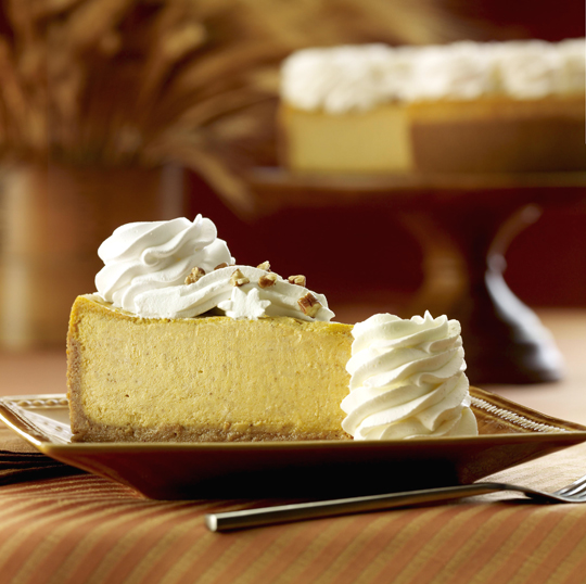A big slab of pumpkin cheesecake. (Photo courtesy of the Cheesecake Factory)