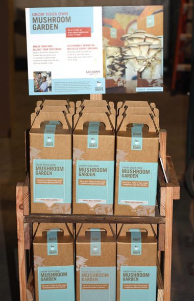 Mushroom kits in their special display case can be found in all Whole Foods.