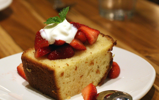 Lemon pound cake with a dollop of Greek yogurt.