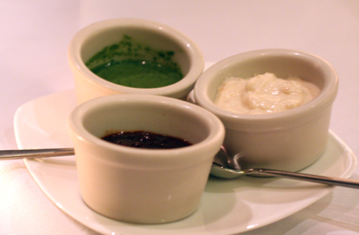 A trio of chutneys.