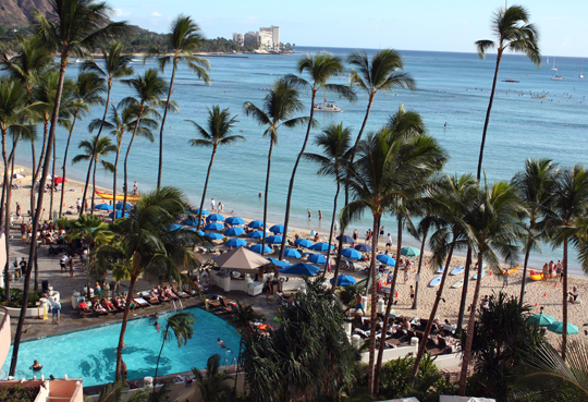 The view from my balcony at the Royal Hawaiian.