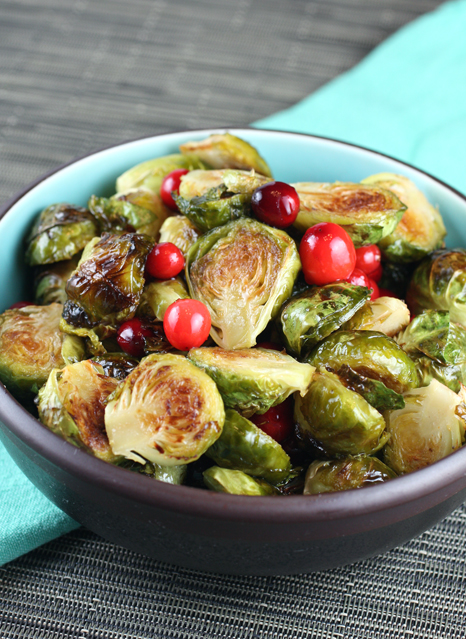 Pretty in deep red -- cranberries with Brussels sprouts.