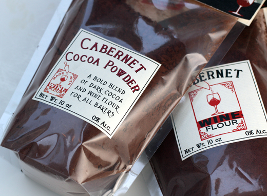 Cabernet Wine Flour and Cocoa Powder come in resealable bags.