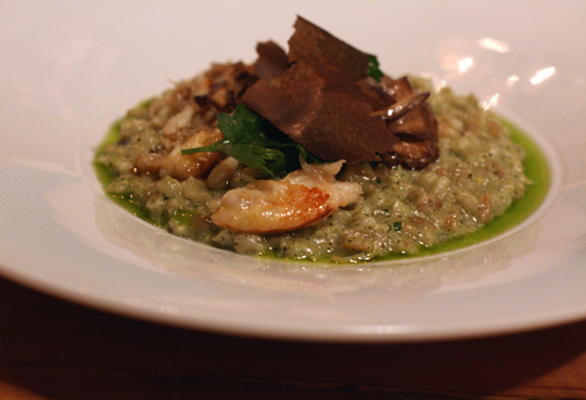 A spectacular dish of barley &quot;risotto'' with Dungeness crab.