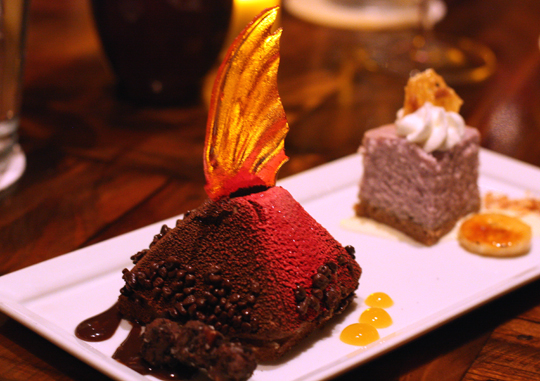 It's a volcano! No, it's actually chocolate mousse.