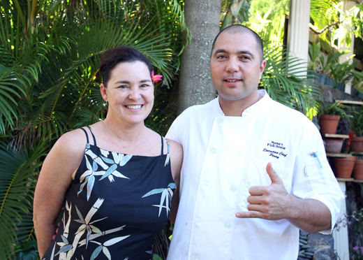 Vice President Karen Christenson with Chef Perry Bateman.