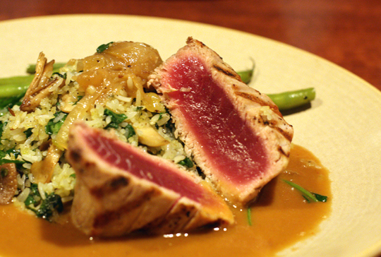 Seared ahi with local mushrooms.