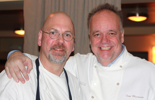 Chefs Staffan Terje (left) and Tony Mantuano (right) teamed up for last Saturday's dinner.