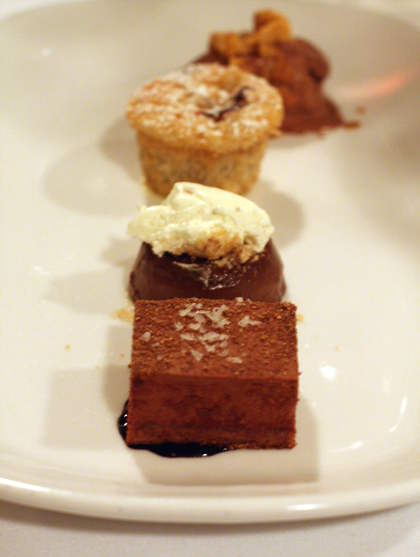 Not one, but four little desserts to end the evening on the sweetest note.