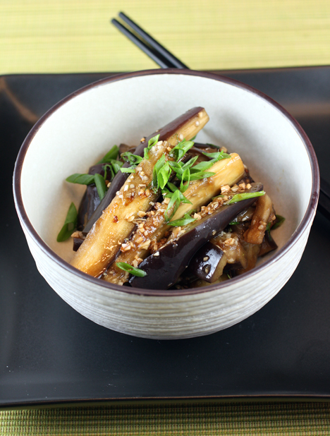 Tender eggplant spears tossed with an easy chili-garlic-ginger-soy sauce.