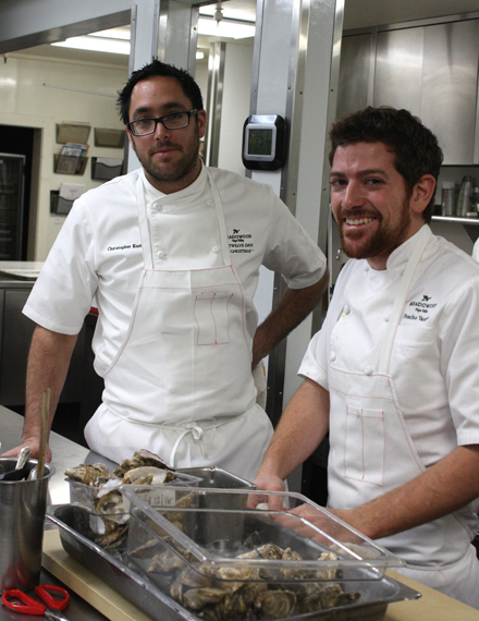Executive Chef Christopher Kostow (left) prepping for dinner service with one of his cooks.