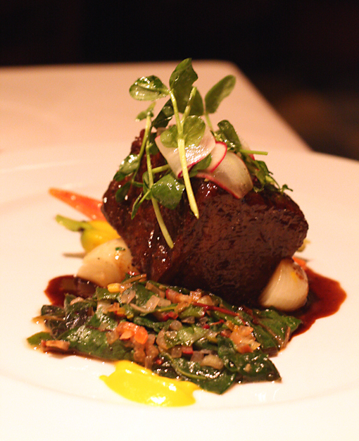 Short ribs elegantly presented at Viognier restaurant.