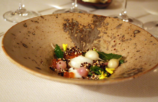 Baby turnips and house-cured salmon roe. A dish almost too beautiful too beautiful to disturb.