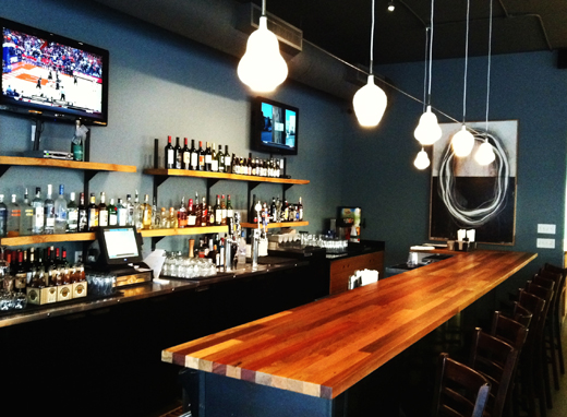 Sidle up to the bar at Blue Line Pizza. (Photo courtesy of the restaurant)