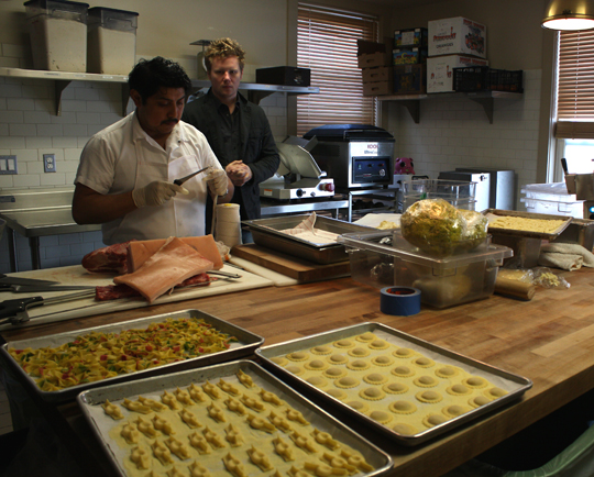 "In the ""dough room'' with Chef Thomas McNaughton (right)."