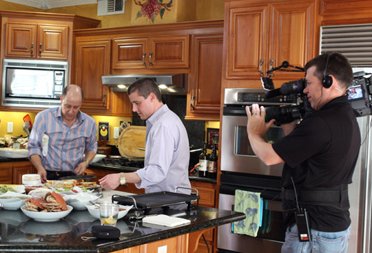 A film crew was on hand to capture the cooking.