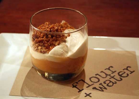 A parfait of quince, crema and crunchy walnut crumbles at Flour + Water.