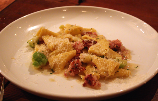 Tender cones of pasta with nubbins of rabbit sausage.