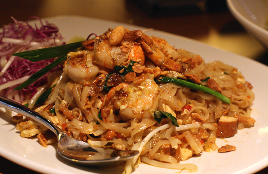 Pad Thai with succulent shrimp.