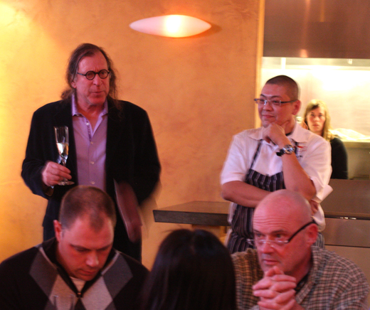 Proprietor Randall Grahm with Chef Alex Ong welcomes the crowd.
