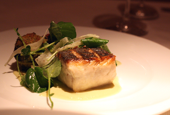 California white sea bass shines at Parcel 104, known for its use of local, sustainable ingredients.