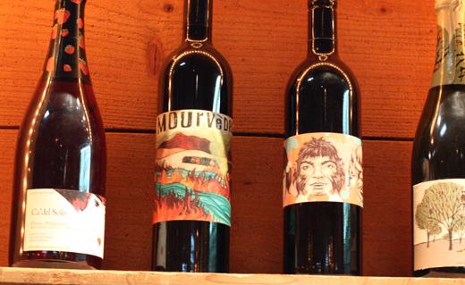 Artsy wine bottles on display.