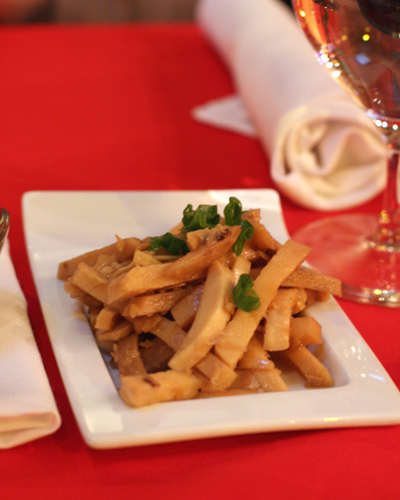 Crunchy, marinated bamboo shoots to nibble on.
