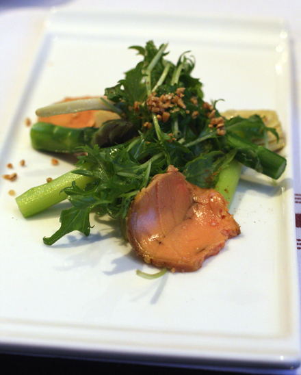 Foie gras torchon with spring veggies.