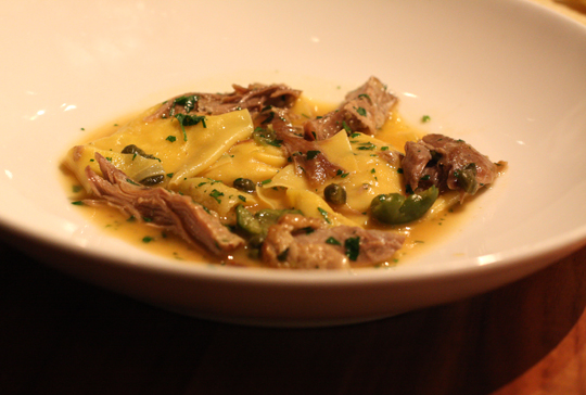 Pillowy tortelli with braised duck leg meat.