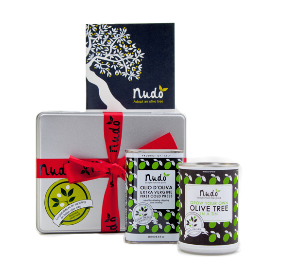The spring adoption kit to grow your own mini olive tree. (Photo courtesy of Nudo-Italia)