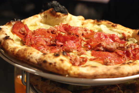 A meat lover's dream pizza at Cupola Pizzeria.