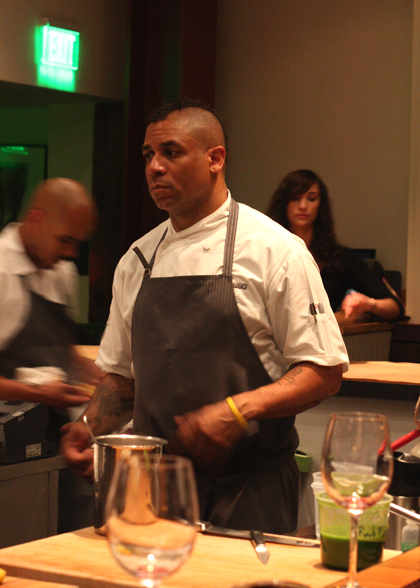 Chef Russell Jackson directing his crew in the kitchen.