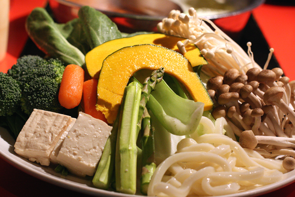 The huge vegetable shabu-shabu plate at Shabuway in San Jose.
