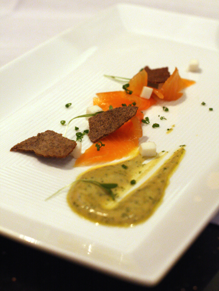 Silky artic char gravlax with foie gras mustard and buckwheat crepe chips.