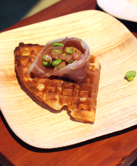 Chef Robbie Lewis' duck prosciutto on crisp waffle.