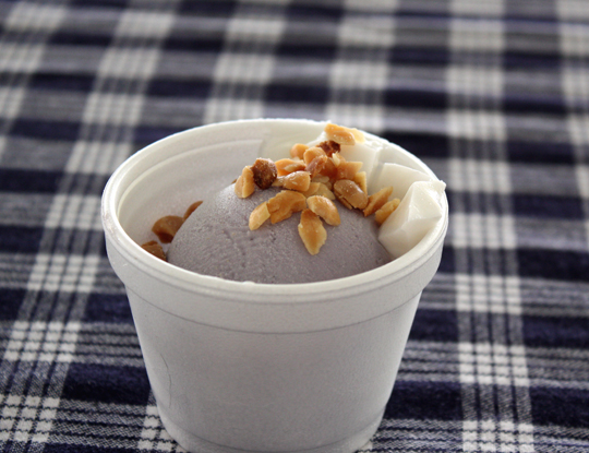 Dreamy sweet potato ice cream with coconut.