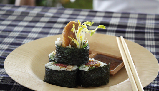 Korean-style beef sushi rolls.