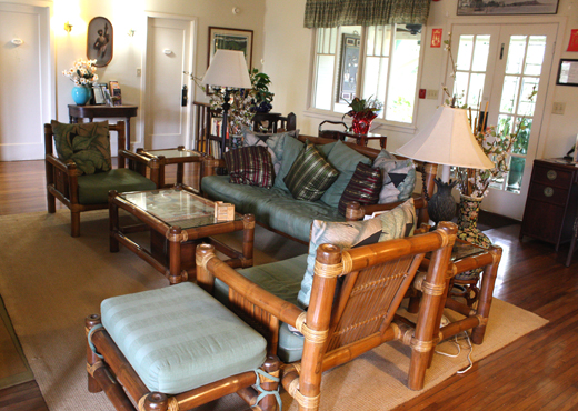 The plantation-style sitting area in the main house.
