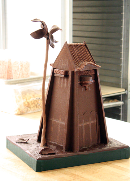 A chocolate replica of a tower at San Jose State made for a special event on campus.
