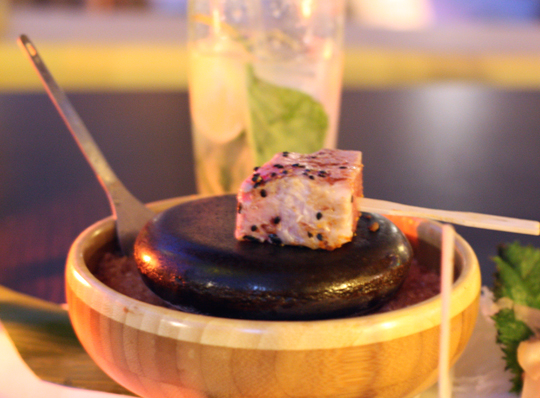 An interactive appetizer of ahi.