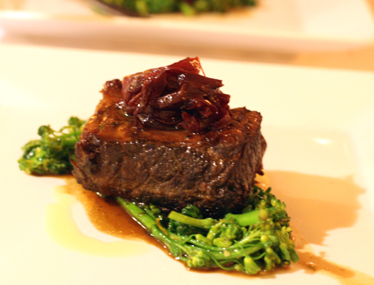 Braised short rib with a Brazilian broccoli.