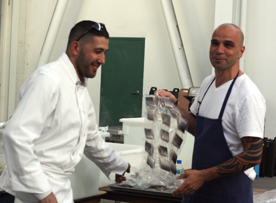 Chef Ismael Macias of Lark Creek Steak (left) and Chef Mourad Lahlou of Aziza ham it up at the sous vide machines.