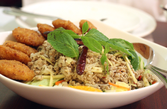 Gingery ground pork with crunchy-chewy rice cakes make up this delight salad at Thai Lemongrass.