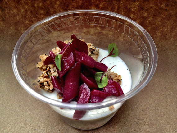 Vanilla bean panna cotta with rhubarb, red wine and poppy seed granola. (Phot courtesy of RN74