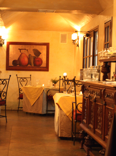 The intimate restaurant, which makes you think of the European countryside.