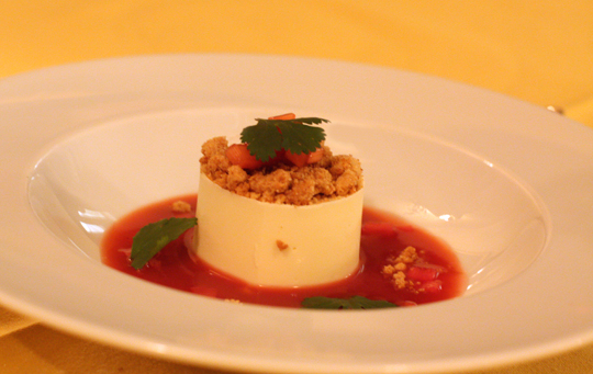Panna cotta in a rhubarb consomme.